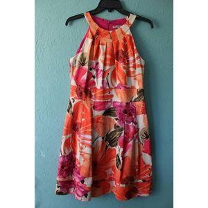 NWOT Eliza J Halter Neck Fit & Flare Floral Dress